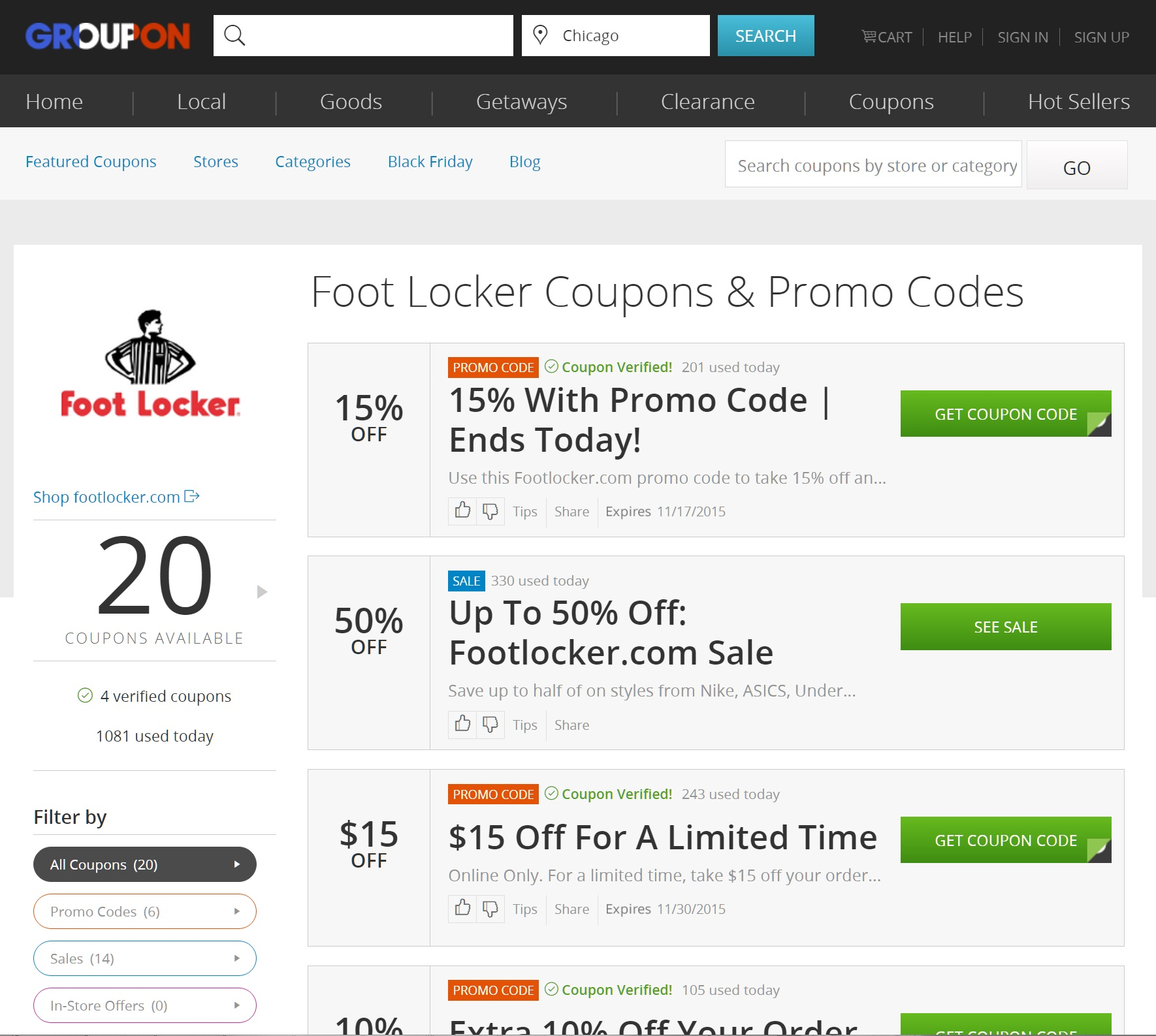 footlocker groupon coupons